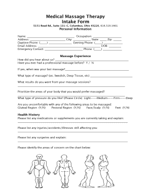 image about Printable Massage Intake Form referred to as Mage procedure usage kinds - Most well-liked Exercise Providers
