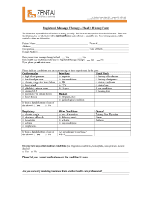 registered massage therapy health history form fill online