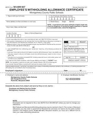 MCPS Form w4-mw-507 703 - Montgomery County Public Fill Online