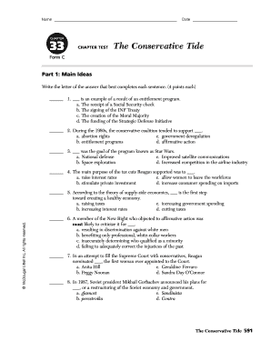 CHAPTER 33 CHAPTER TEST The Conservative Tide