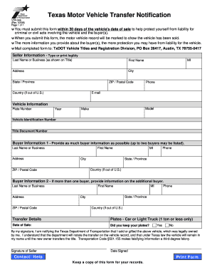 Texas Vehicle Transfer Notification >> Car Title Transfer Texas Fill Out Print Download Online