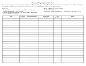 personal property inventory form