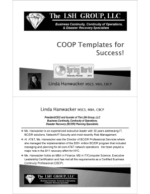 Microsoft PowerPoint - Sunday WS Session 2 - COOP Templates for Success L Hanwacker
