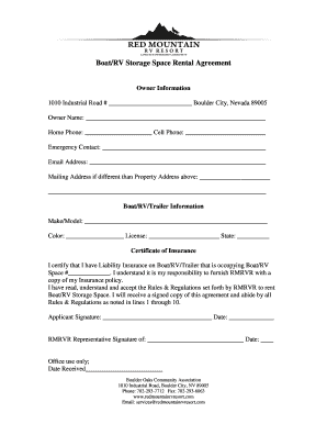 BoatRV Storage Space Rental Agreement