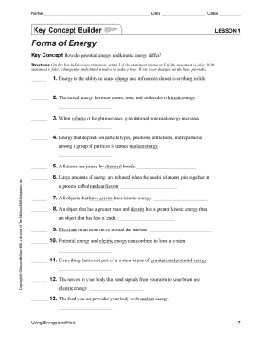The various forms of energy worksheet answer key
