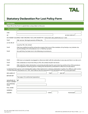 Statutory Declaration For Lost Policy Form - quoticomau