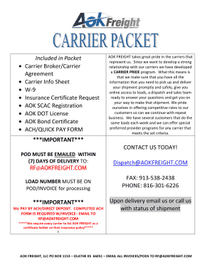 Included In Packet Carrier Brokercarrier Agreement Bb Aok