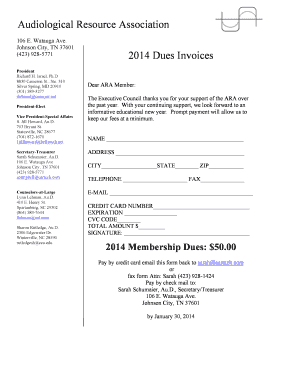 Audiological Resource Association 2014 Dues Invoices
