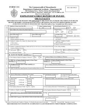 bill of sale form massachusetts employers first report of injury or