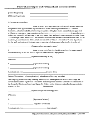 power of attorney form 222  Fillable Online ehs research uiowa Power of Attorney for DEA ...