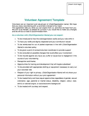 Volunteer Agreement Template Kent Sport Fill Online