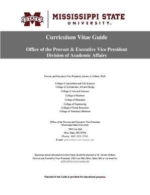 Fillable Online Library Msstate Curriculum Vitae Guide