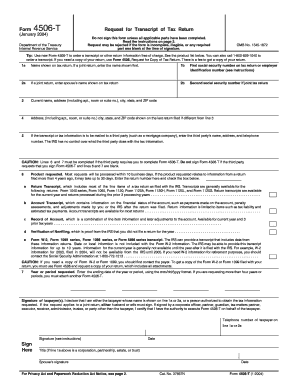 IRS Form 4506-T (Request for Tax Transcript)