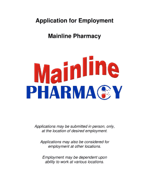 fillable online application for employment mainline pharmacy fax