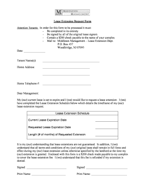 fillable online lease extension request form middlesex management