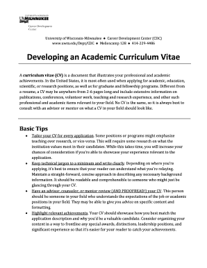 Developing an Academic Curriculum Vitae - University of Wisconsin bb