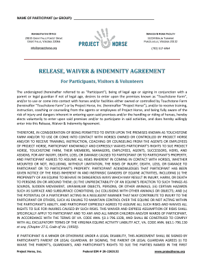 RELEASE WAIVER INDEMNITY AGREEMENT - Project Horse - projecthorse