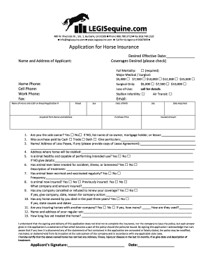 Horse Trial Lease Agreement. Application For Horse Insurance    Legisequinecom
