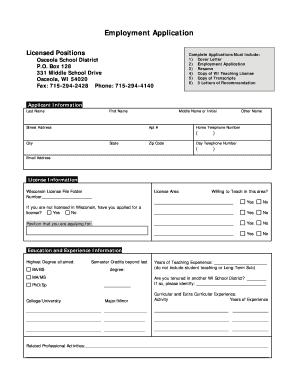 fillable online osceola k12 wi employment application osceola