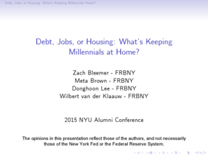 Debt Jobs or Housing WhatTMs Keeping Millennials at Home - cvstarrnyu