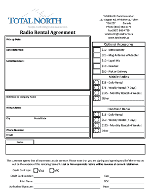 Printable Daily Rental Agreement Form Fill Out Download