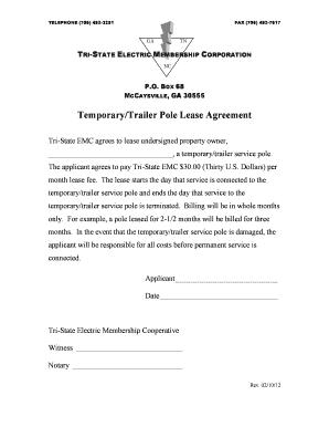Fillable Online Temporarytrailer Pole Lease Agreement