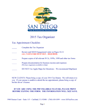 Download Our San Diego Tax amp Financial bTax Organizerb