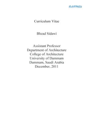 Fillable Online Uod Edu Curriculum Vitae Bhzad Sidawi Assistant