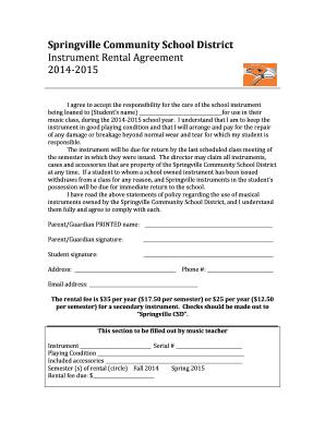 Fillable Online Springville K12 Ia Instrument Rental Agreement