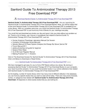 fillable online blhkotapalangkaraya sanford guide to antimicrobial rh pdffiller com sanford guide to antimicrobial therapy 2013 pdf sanford guide to antimicrobial therapy 2013 pdf free download