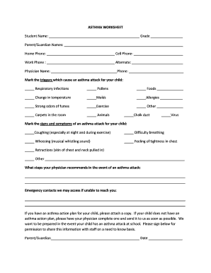 Fillable Online ASTHMA WORKSHEET - Pleasant Hill Primary