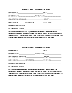 Parent Contact Information Sheet Edit Fill Out Top Online Forms