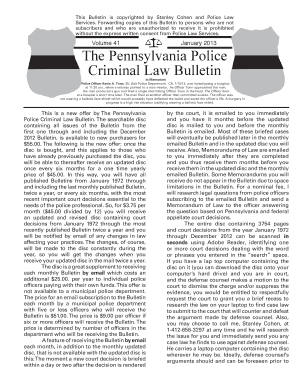 The Pennsylvania Police Criminal Law Bulletin