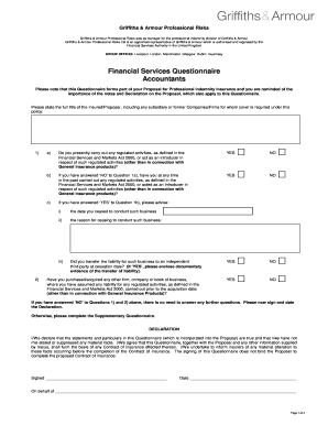 Financial Services Initial Questionnaire - Accountants - TO ACCOMPANY ACCOUNTANTS PROPOSAL FORM