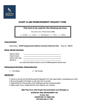 SHARP CLAIM REIMBURSEMENT REQUEST FORM This form to be - adventistretirement