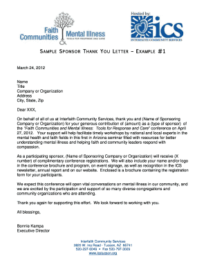 thank you letter for educational sponsorship Forms and Templates