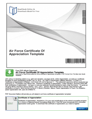 Certificate of appreciation template forms fillable for Air force certificate of appreciation template
