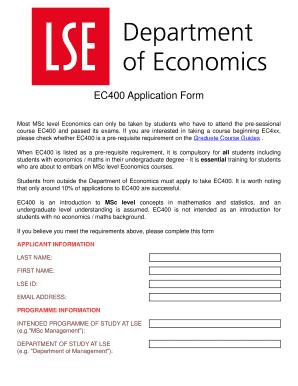 Fillable Online lse ac BEC400b Application bFormb - LSE