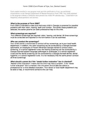 Fillable Online hokemcnealacademy Form 3300 Certificate of Eye Ear ...