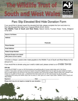 fillable online welshwildlife parc slip elevated bird hide donation