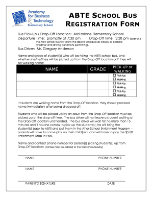 Fillable online abte school bus registration form abt elementary rate this form thecheapjerseys Gallery