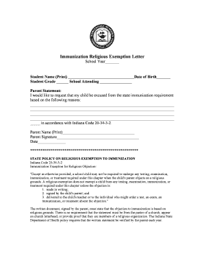 Religious Exemption Letter   Noblesville Schools Fill Online