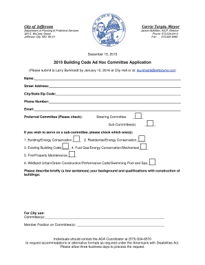 2015 Building Code Ad Hoc Committee Application