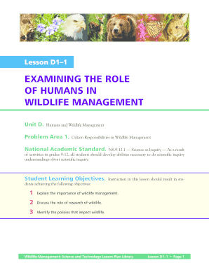 EXAMINING THE ROLE OF HUMANS IN WILDLIFE MANAGEMENT - AZFFA