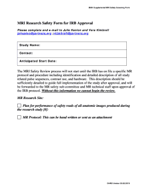 MRI Research Safety Form for IRB Approval - dfhcc harvard