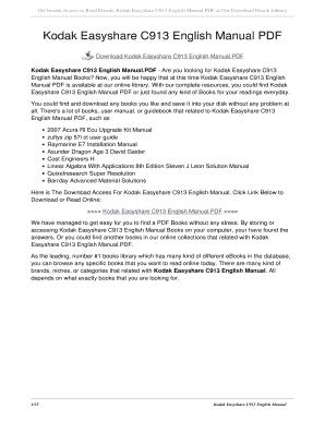 fillable online kollint kodak easyshare c913 english manual pdf rh pdffiller com