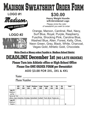 Madison Sweatshirt Order Form
