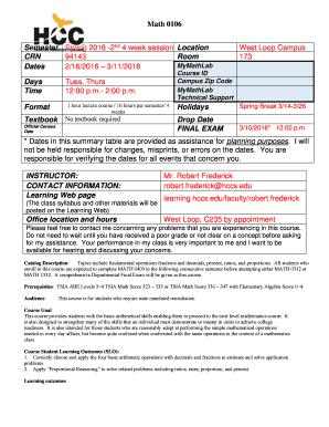 Fillable Online MATH 0106 Syllabus Spring b2016bpdf - HCC