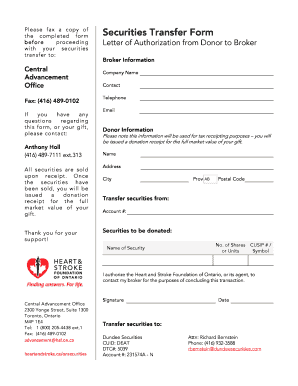 Please fax a copy of the completed form before proceeding with your securities transfer to: Central Advancement Office Fax: (416) 4890102 If you have any questions regarding this form, or your gift, please contact: Anthony Holl (416)