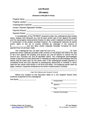 Fillable Online Wyoming Lien Waiver WSA 29-10-101b Wyoming
